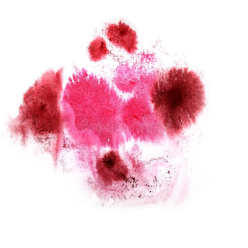Paint splash ink pink, cherry blot and white abstract art brus. Hes isolated stock photo