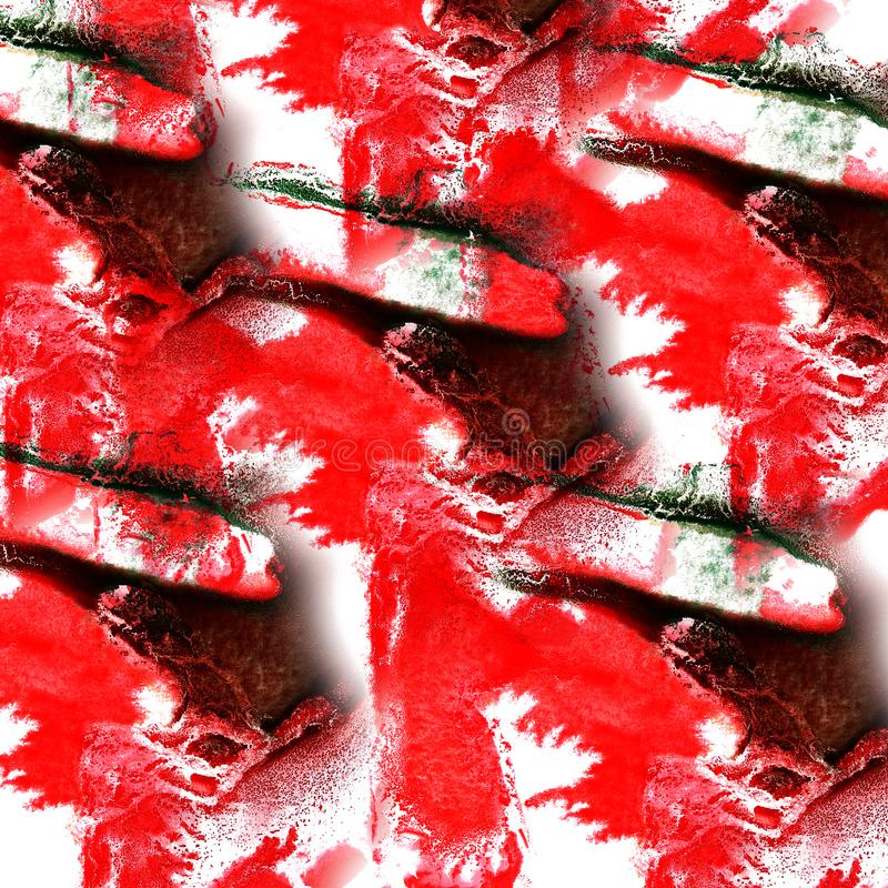 Paint splash ink red, black, green blot and white abstract art. Brushes isolated royalty free stock images