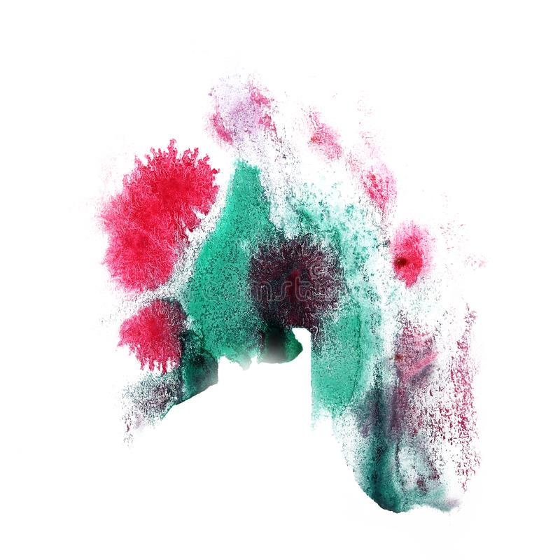 Paint splash ink red, green blot and white abstract art brushe. S isolated stock images