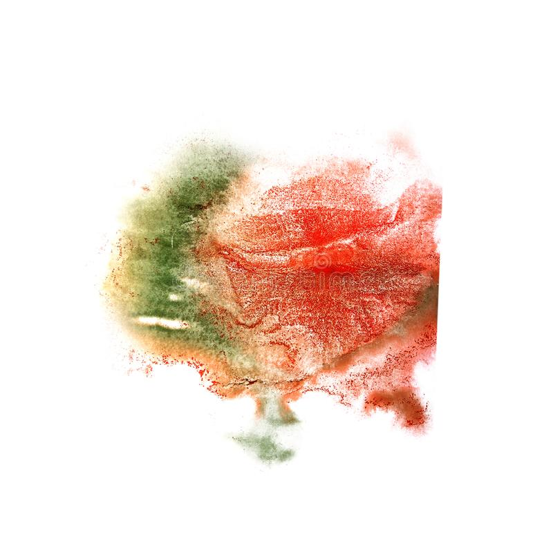 Paint splash ink red, green, yellow blot and white abstract ar. T brushes isolated stock image