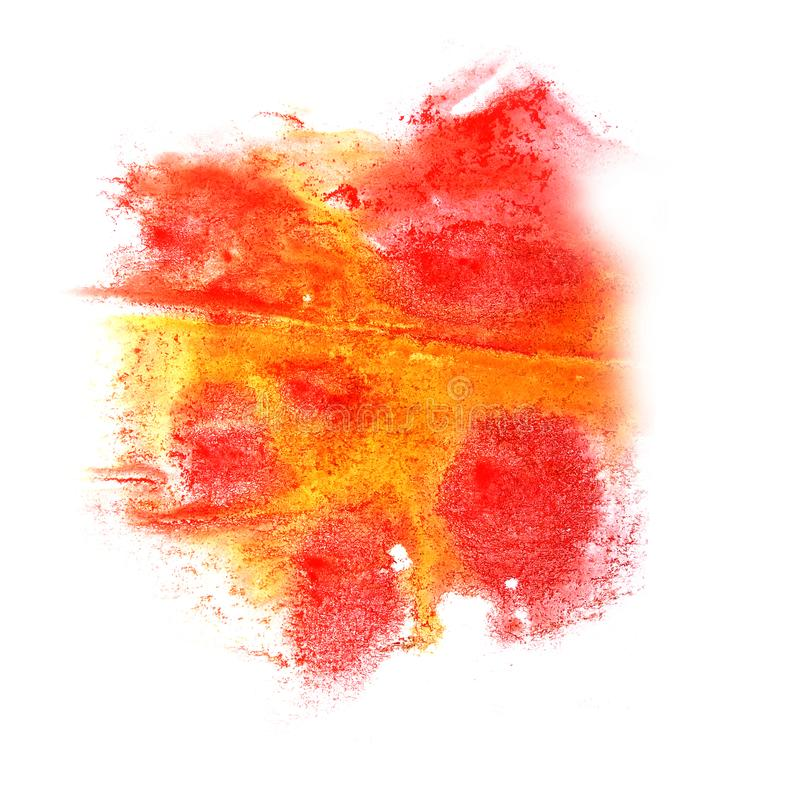 Paint splash ink yellow, pink blot and white abstract art brus. Hes isolated royalty free stock photos