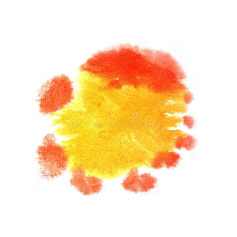 Paint splash ink yellow, red blot and white abstract art brush. Es isolated stock image