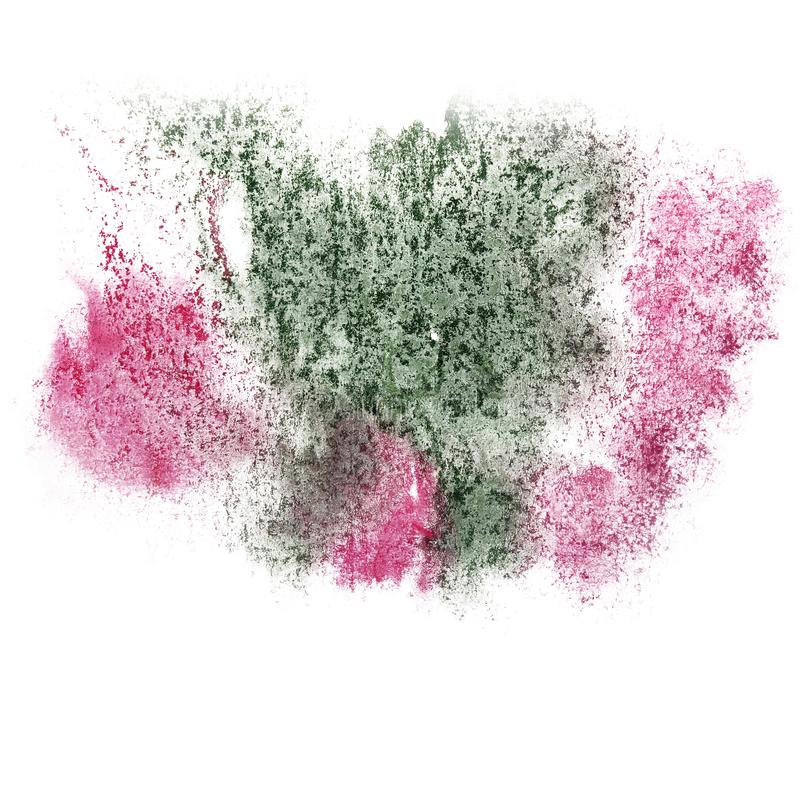Paint splash pink, green ink blot and white abstract art brushes. Isolated stock photo