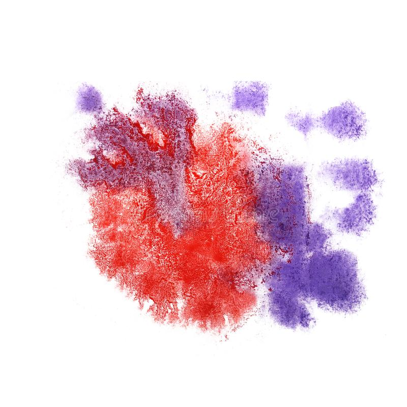 Paint splash purple, blue, red ink blot and white abstract art. Brushes isolated royalty free stock images