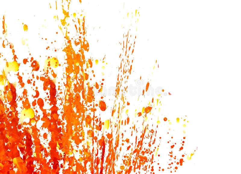 Paint Splashes. Splashes of red, orange and yellow paint on a white background stock illustration