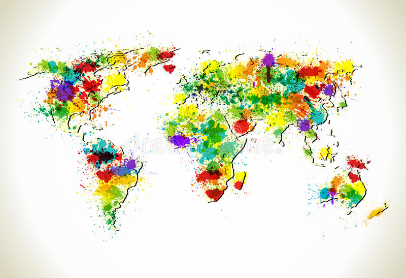 Paint splashes world map background vector illustration