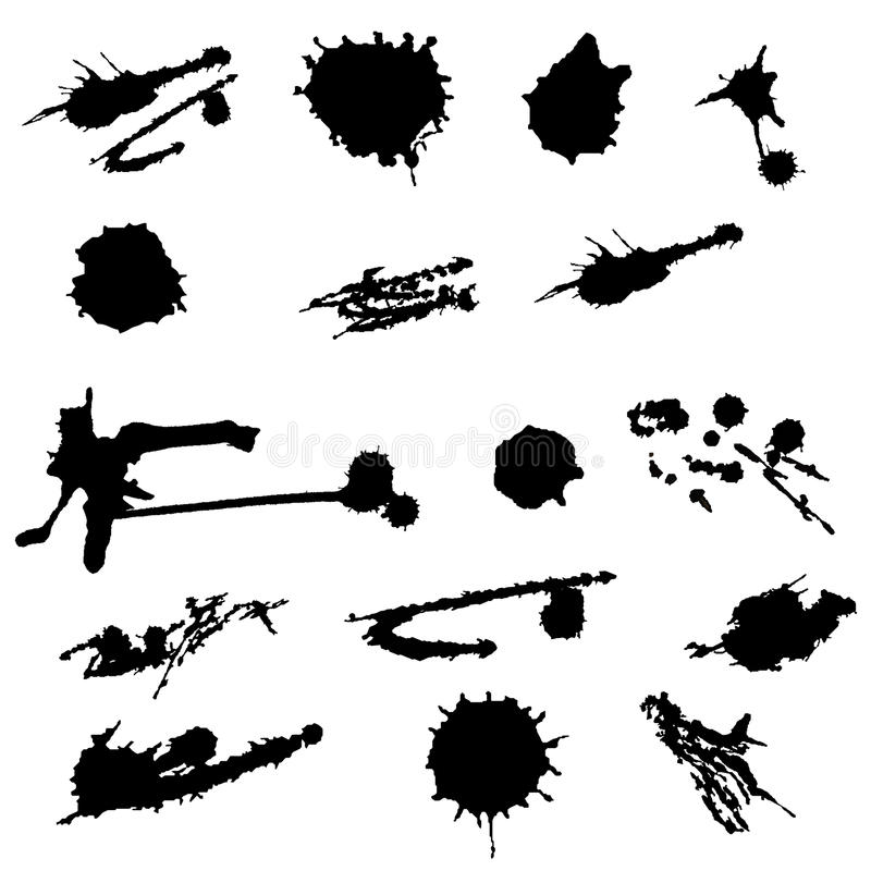 Paint splat set.Paint splashes set for design use.Abstract vector illustration. Ink blot collection on white background stock illustration