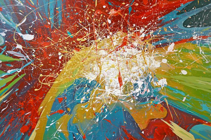 Paint splatter abstract. Close up of colorful paint splash abstract design royalty free stock image