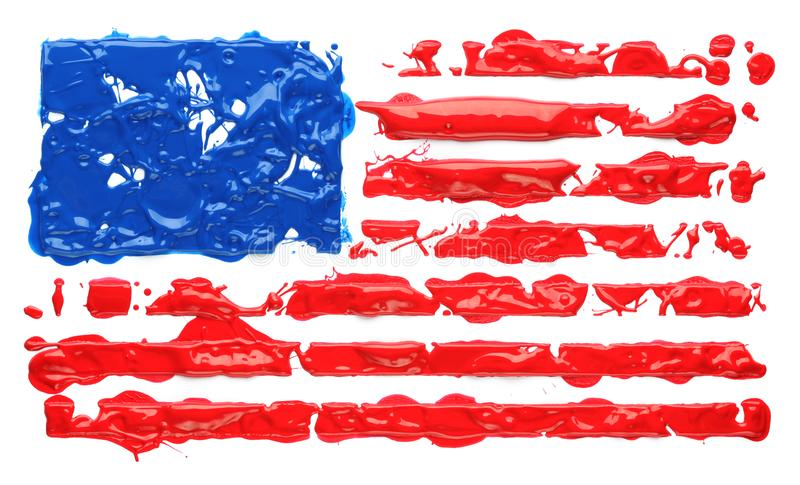 Paint splatter in the shape of American flag stock images