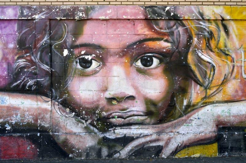 Venezuelan urban art, Maracay. Paint on a street wall in Maracay city, Venezuela. South america. Face of children looking you royalty free stock image
