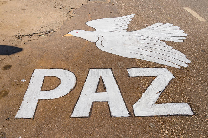 Paint on the street of a white dove during Corpus Christi royalty free stock images