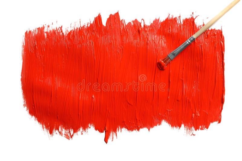 Paint stroke and brush on white background stock photos