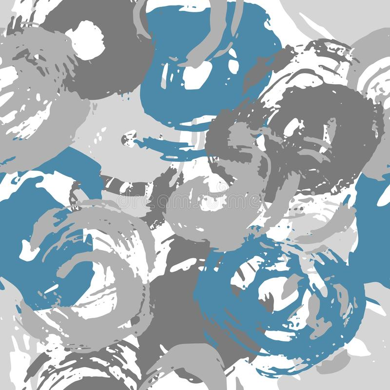 Paint Stroke Circles Seamless Pattern Grey and Teal royalty free stock photo