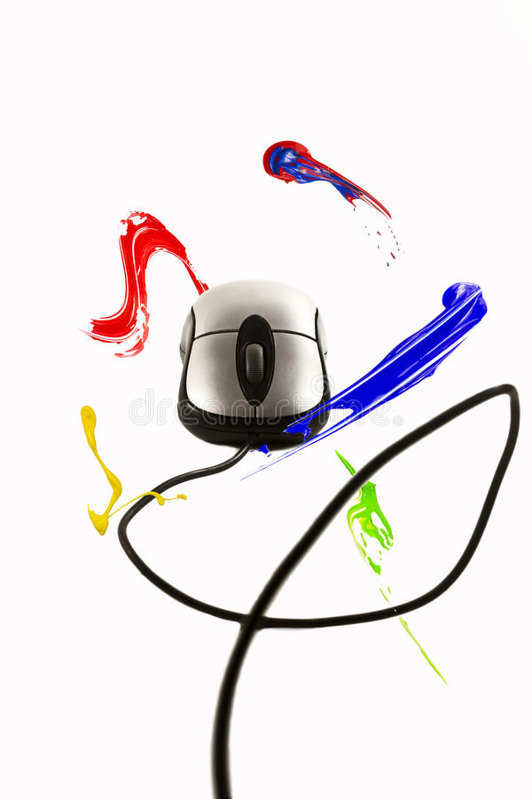 Paint Strokes Circulating The Computer Mouse Stock Photography