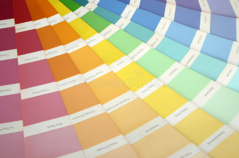 Paint Swatch. A paint swatch fanned out to reveal different colours