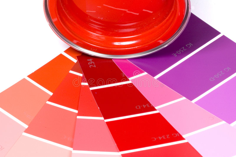 Paint and swatches. Red paint and some color swatches stock photography