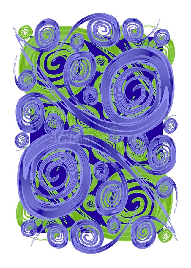 Paint Swirls Spirals Textures. An abstract digital art illustration of blue swirls, curls, spirals and swooshes fanning outward in a free form texture pattern royalty free illustration