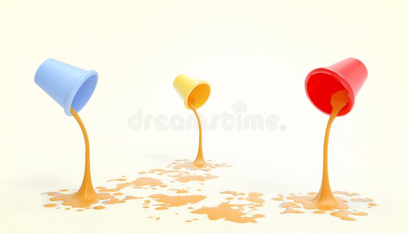 Paint tanks Blue, yellow, red  and Orange Color droplets on the floor and modern and minimalist artwork in a yellow background. 3d rendering vector illustration