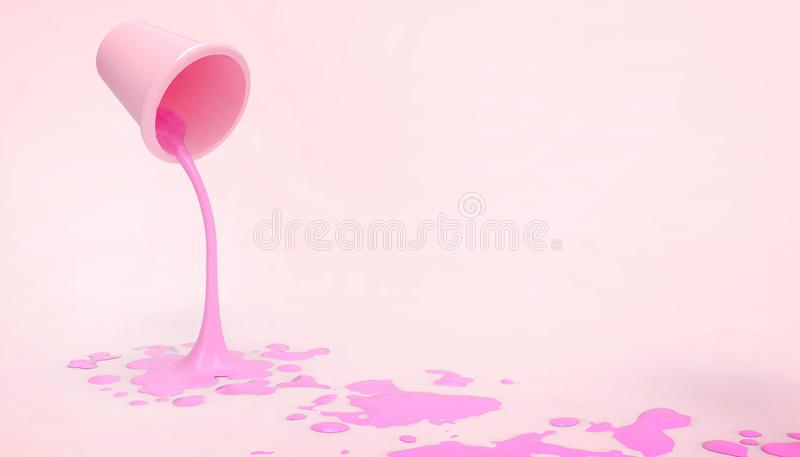 Paint tanks Pink and purple droplets on the floor and modern and minimalist artwork in a Pink background. 3d rendering vector illustration