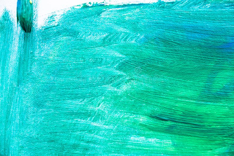 Green paint texture, abstract background, brush strokes on canvas. Paint texture background, hand drawn green painting, brush strokes on canvas , green colored royalty free stock photos