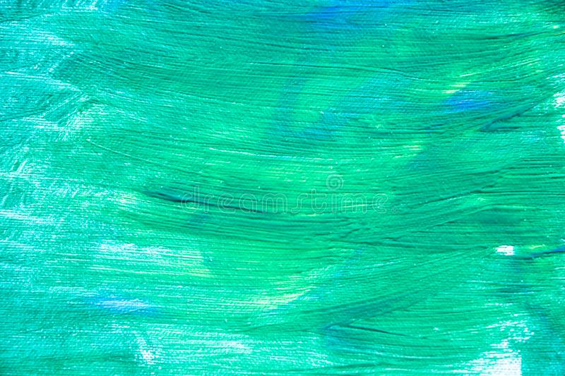 Green paint texture, abstract background, brush strokes on canvas. Paint texture background, hand drawn green painting, brush strokes on canvas , green colored royalty free stock image