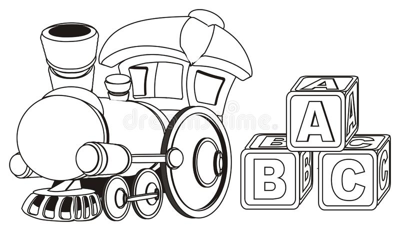 Paint toy train and cubs. Not colored toy train with three cubs royalty free illustration