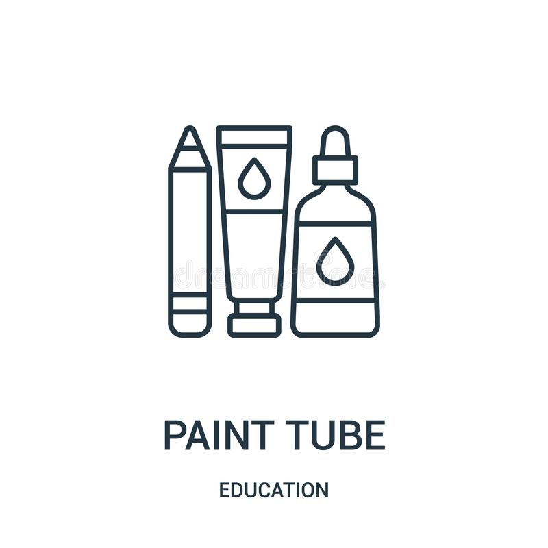 paint tube icon vector from education collection. Thin line paint tube outline icon vector illustration stock illustration