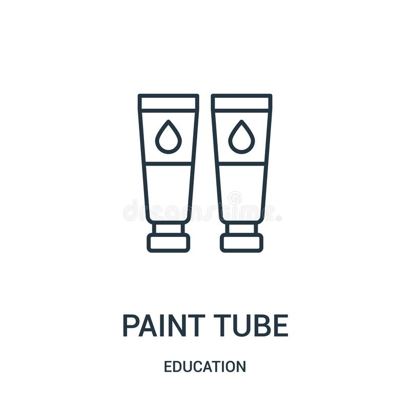 paint tube icon vector from education collection. Thin line paint tube outline icon vector illustration royalty free illustration