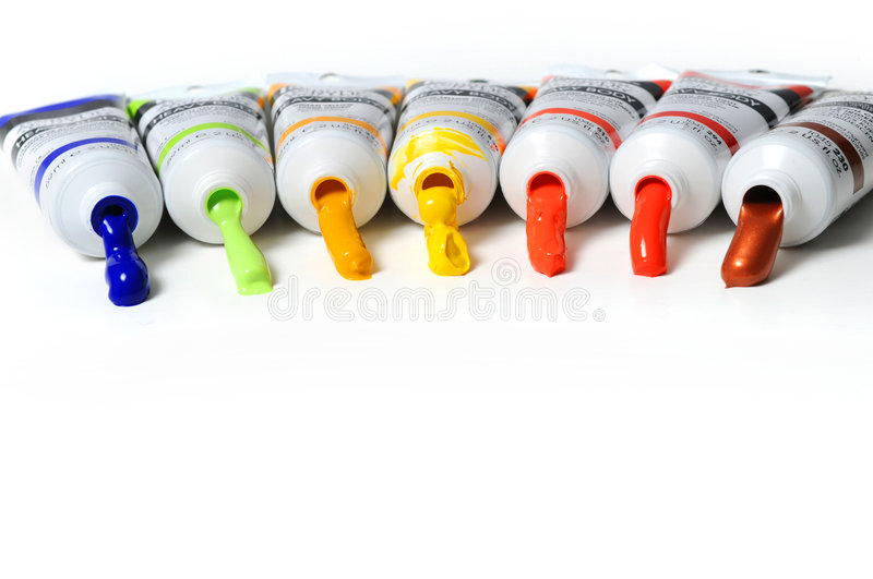 Paint Tubes. Multicolor tubes of paint over a white background stock images