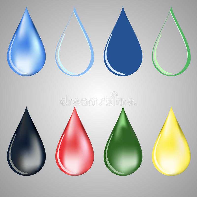 Paint and water drops vector illustration