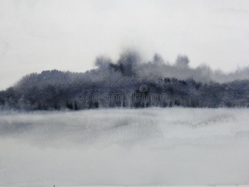 Watercolor painting ink landscape mountain reflect river in the fog. Paint watercolor painting ink landscape mountain reflect river in the fog vector illustration
