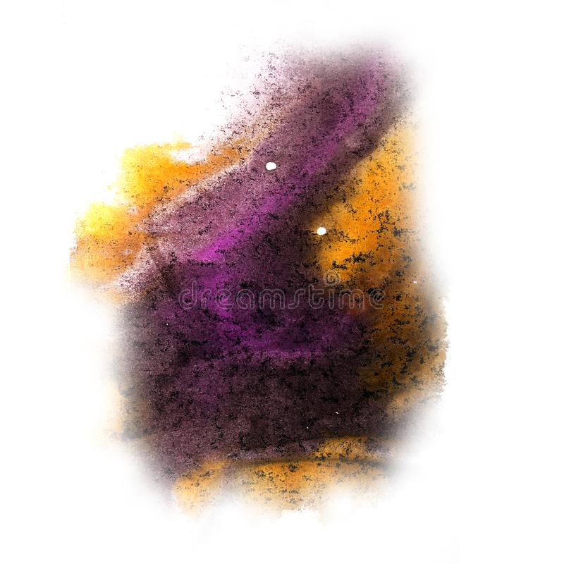 Paint yellow, purple, black splash ink blot and white abstract. Art brushes isolated stock image