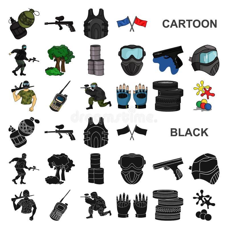Paintball, εικονίδια κινούμενων σχεδίων παιχνιδιών ομάδων στην καθορισμένη συλλογή για το σχέδιο Διανυσματικός Ιστός αποθεμάτων σ απεικόνιση αποθεμάτων
