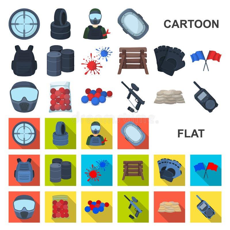 Paintball, εικονίδια κινούμενων σχεδίων παιχνιδιών ομάδων στην καθορισμένη συλλογή για το σχέδιο Διανυσματικός Ιστός αποθεμάτων σ ελεύθερη απεικόνιση δικαιώματος