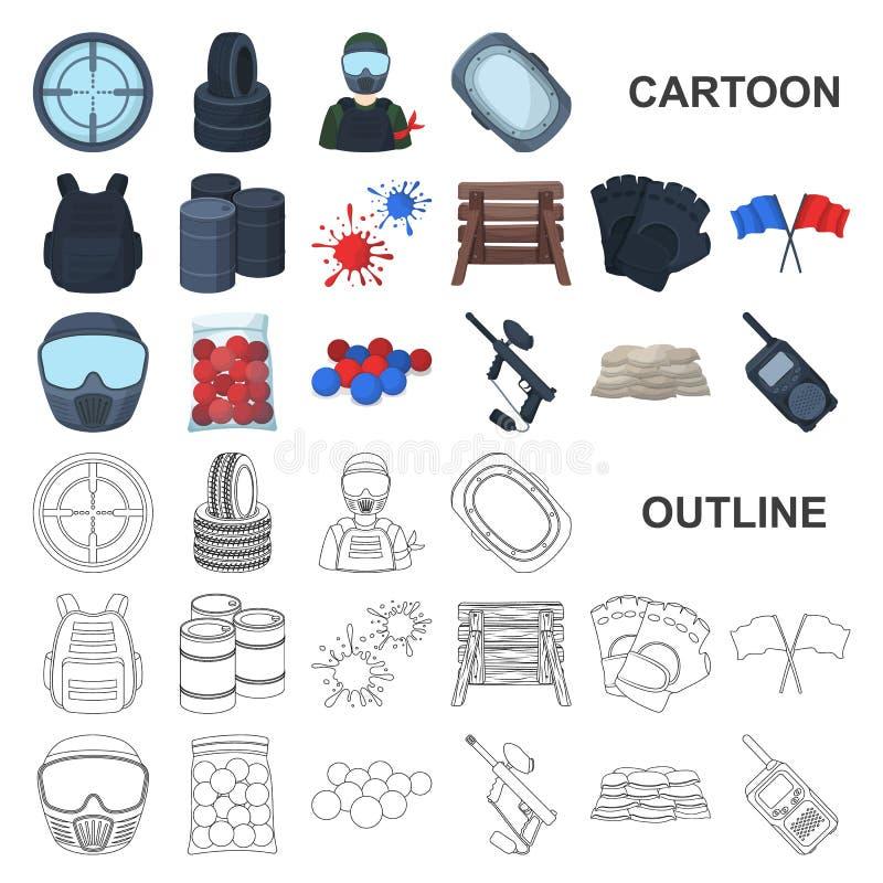 Paintball, εικονίδια κινούμενων σχεδίων παιχνιδιών ομάδων στην καθορισμένη συλλογή για το σχέδιο Διανυσματικός Ιστός αποθεμάτων σ διανυσματική απεικόνιση
