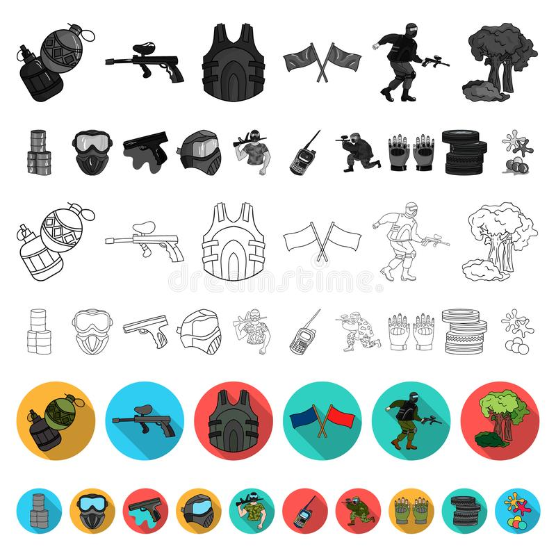 Paintball, επίπεδα εικονίδια παιχνιδιών ομάδων στην καθορισμένη συλλογή για το σχέδιο Διανυσματική απεικόνιση Ιστού αποθεμάτων συ διανυσματική απεικόνιση