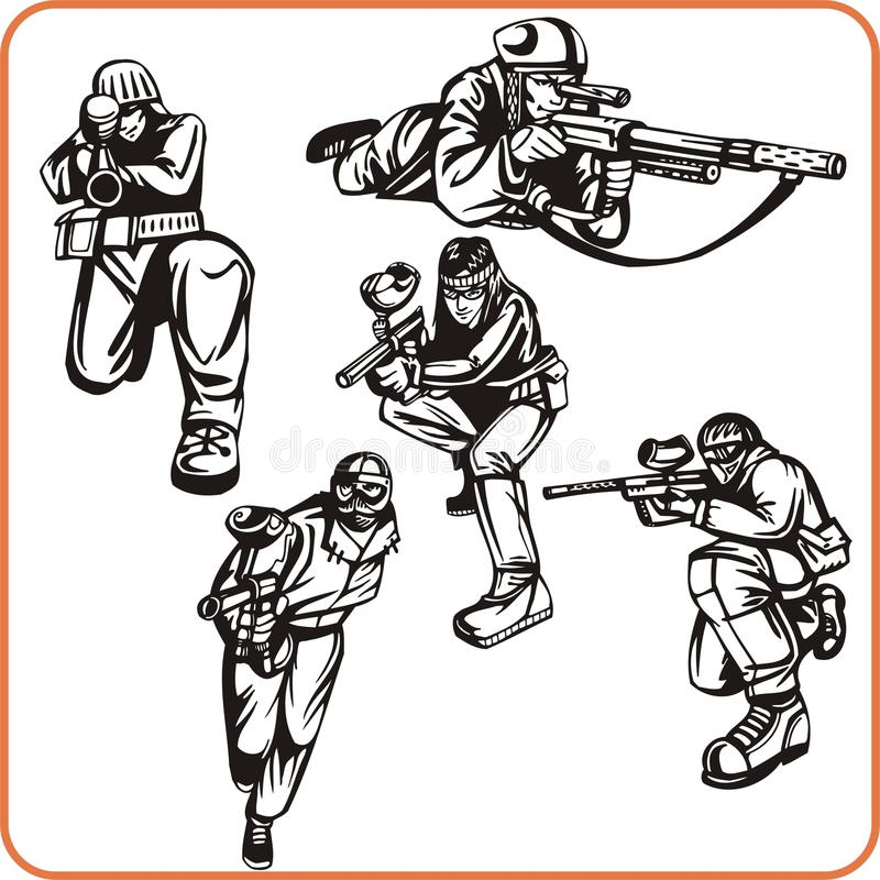 Paintball. illustration stock