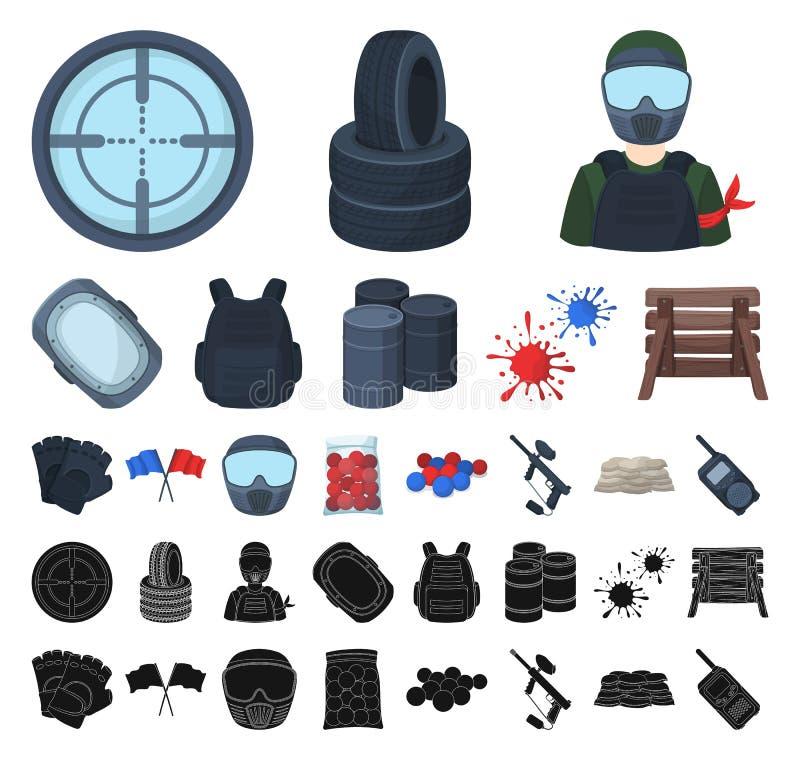 Paintball, bande dessinée de jeu d'équipe, icônes noires dans la collection réglée pour la conception Web d'actions de symbole de illustration stock