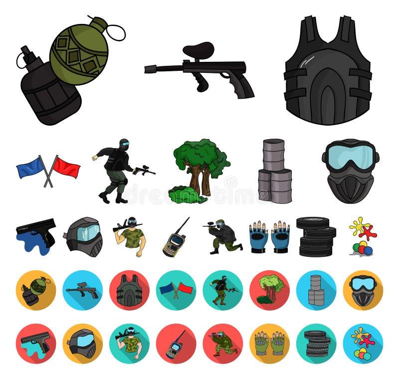 Paintball, bande dessinée de jeu d'équipe, icônes plates dans la collection réglée pour la conception Web d'actions de symbole de illustration libre de droits