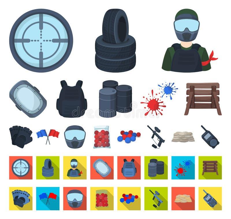Paintball, bande dessinée de jeu d'équipe, icônes plates dans la collection réglée pour la conception Web d'actions de symbole de illustration de vecteur