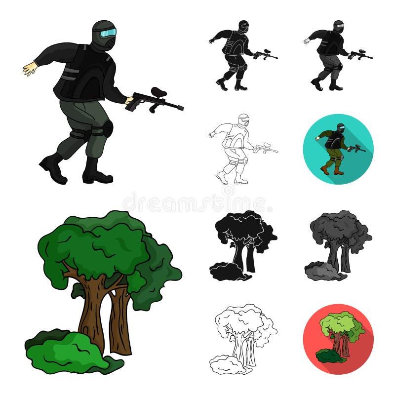 Paintball, bande dessinée de jeu d'équipe, noir, plat, monochrome, icônes d'ensemble dans la collection d'ensemble pour la concep illustration libre de droits