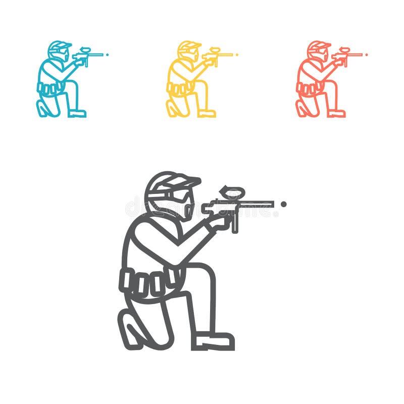 Paintball broni linii ikona Wektoru znak dla sieci grafiki ilustracja wektor