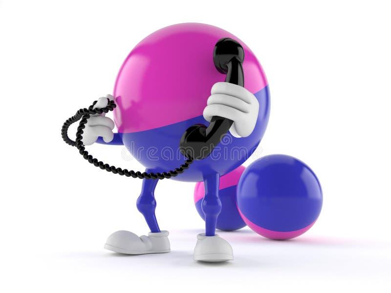 Paintball charakter trzyma telefonicznego handset ilustracja wektor