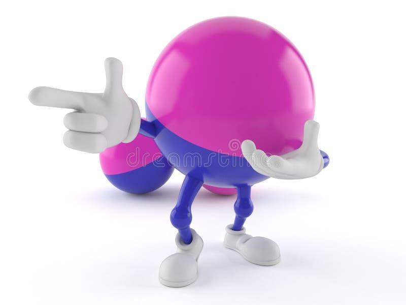 Paintball charakter wskazuje palec ilustracji