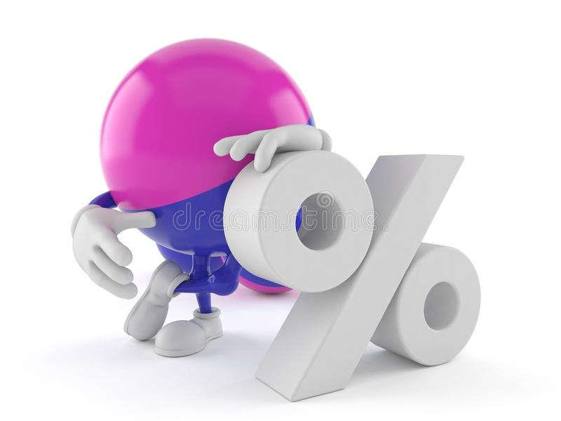 Paintball charakter z procentu symbolem ilustracji