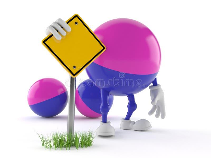 Paintball charakter z pustym drogowym znakiem ilustracji