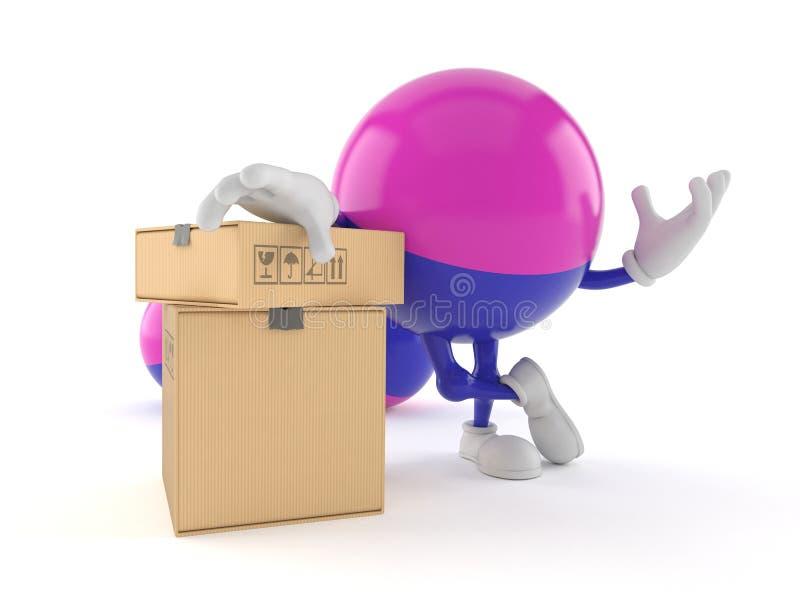 Paintball charakter z stertą pudełka royalty ilustracja