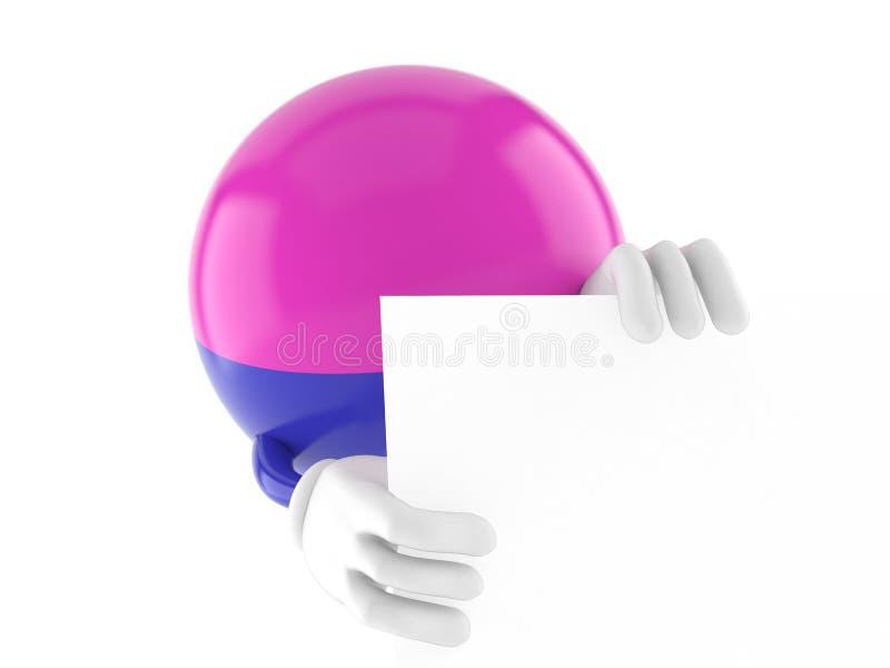 Paintball charakter za białą deską ilustracja wektor
