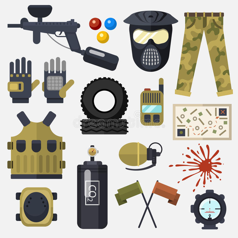 Paintball club symbols icons protection uniform and sport game design elements equipment target vector illustration royalty free illustration