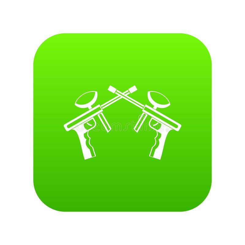 Paintball dispara contra verde digital del icono ilustración del vector